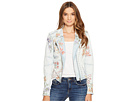 Floral Embroidered Denim Studded Jacket in Sitting Pretty