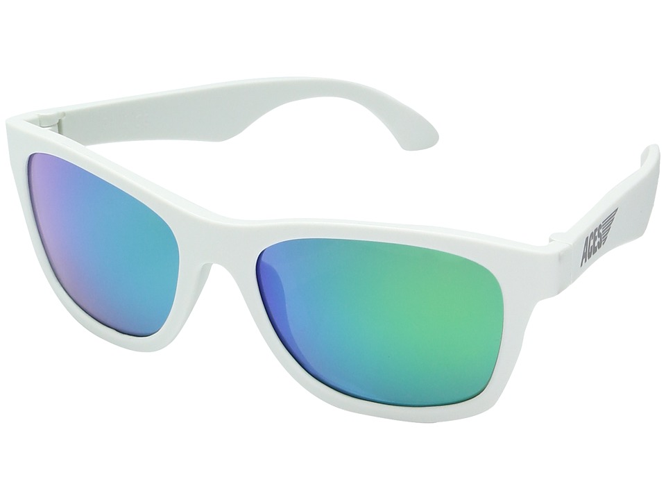 Image of Babiators - Aces Navigator Sunglasses (6-10 Years) (Wicked White with Green Lenses) Sport Sunglasses