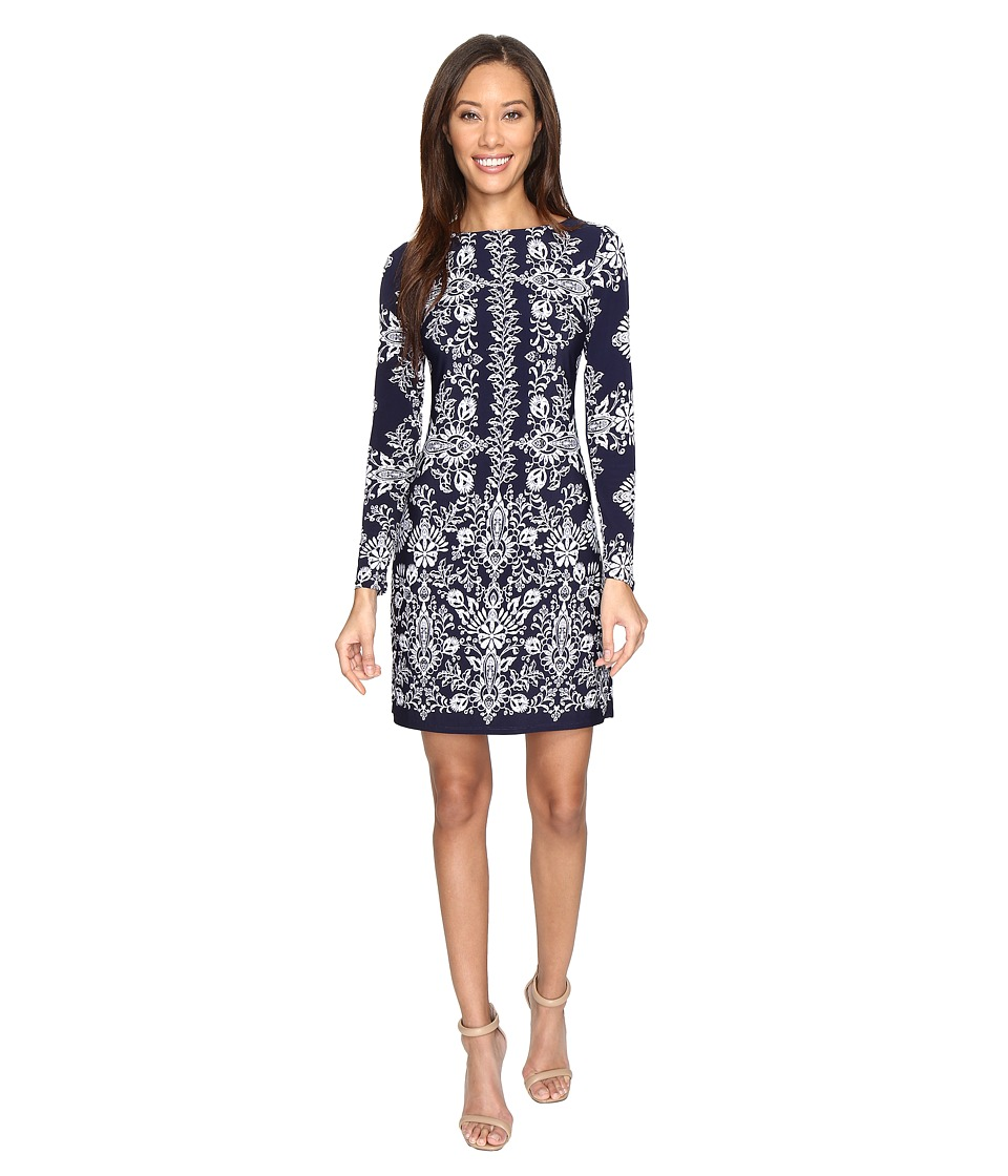Vince Camuto Ity Long Sleeve T-Body Dress (Navy/Ivory) Women