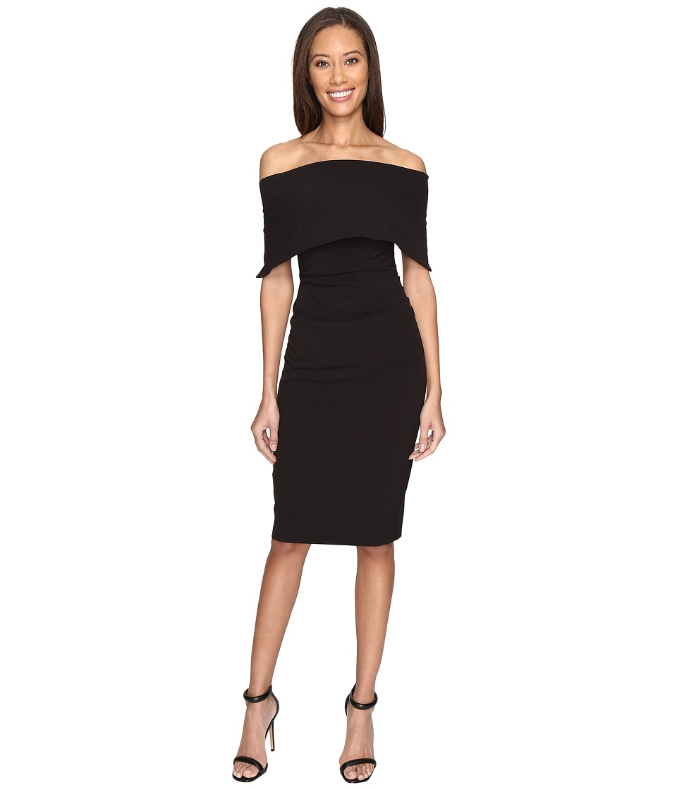 Vince Camuto Off the Shoulder Midi Dress with Side Tuck (Black) Women