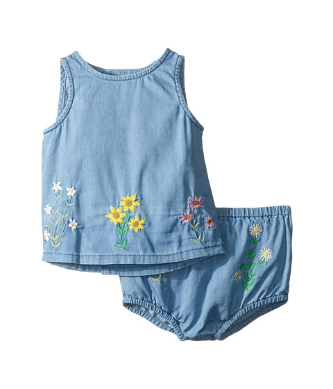 Stella McCartney Kids Trixie Floral Embroidered Top and Bloomer Chambray Set (Infant)