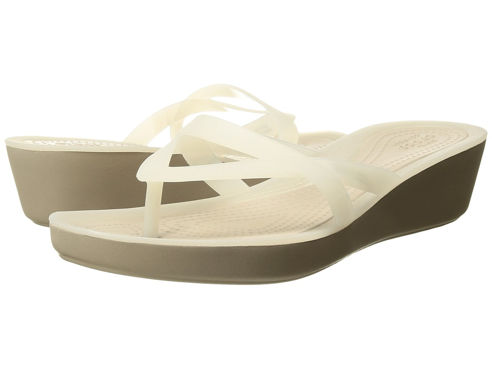 Crocs - Isabella Wedge Flip (Oyster/Cobblestone) Women's Sandals