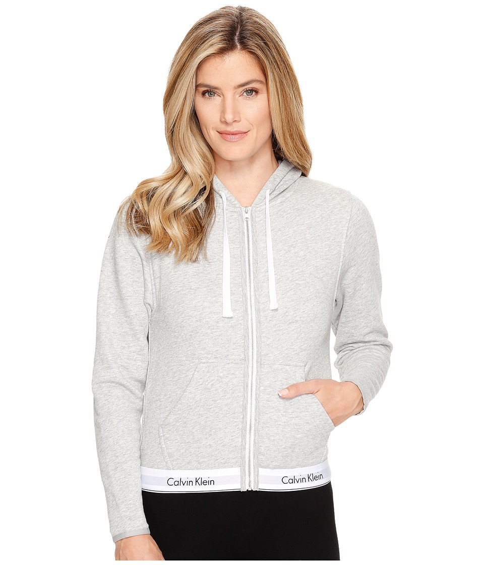 Calvin Klein Underwear Modern Cotton Line Extension Top Full Zip Hoodie (Grey Heather) Women