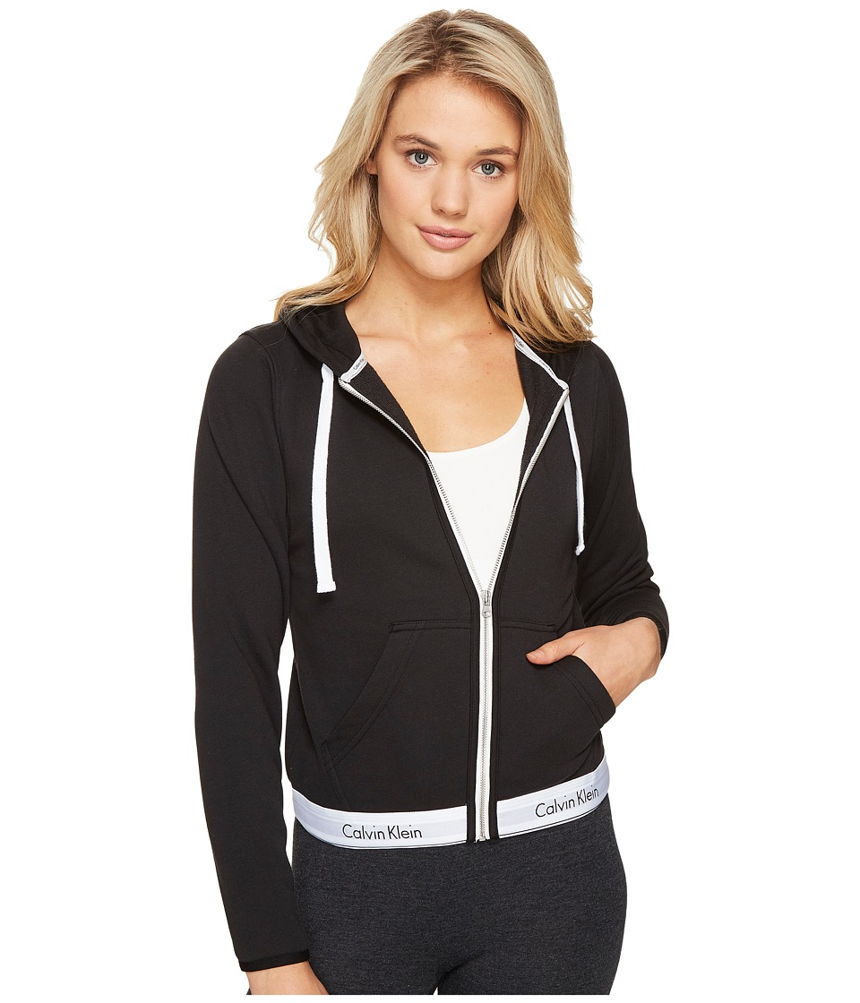 Calvin Klein Underwear Modern Cotton Line Extension Top Full Zip Hoodie (Black) Women
