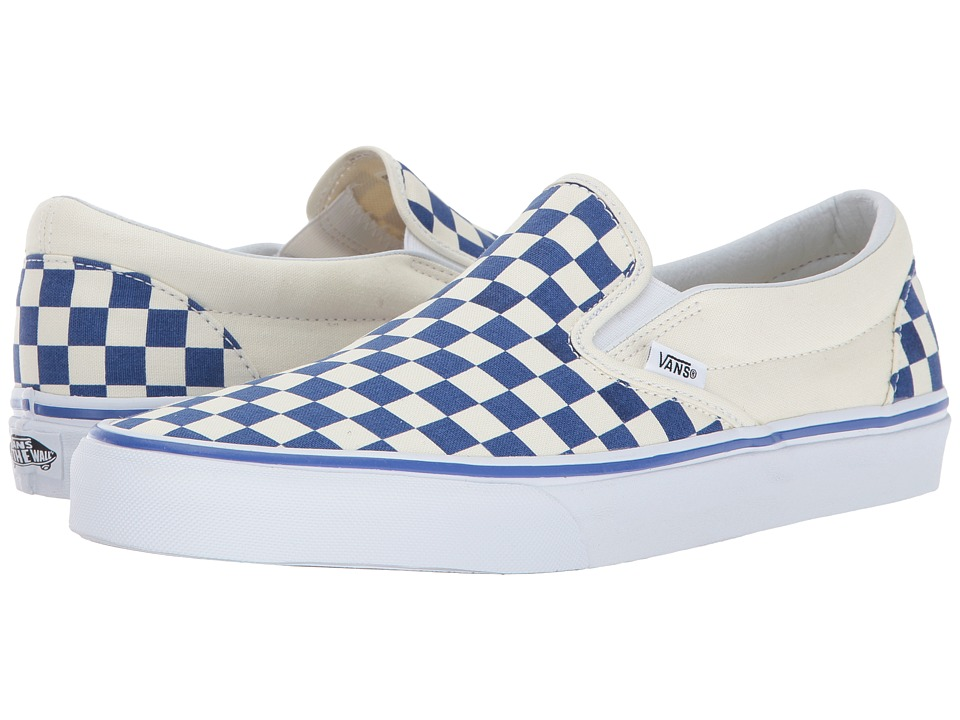 Vans Classic Slip-On ((Primary Check) True Blue/White) Skate Shoes