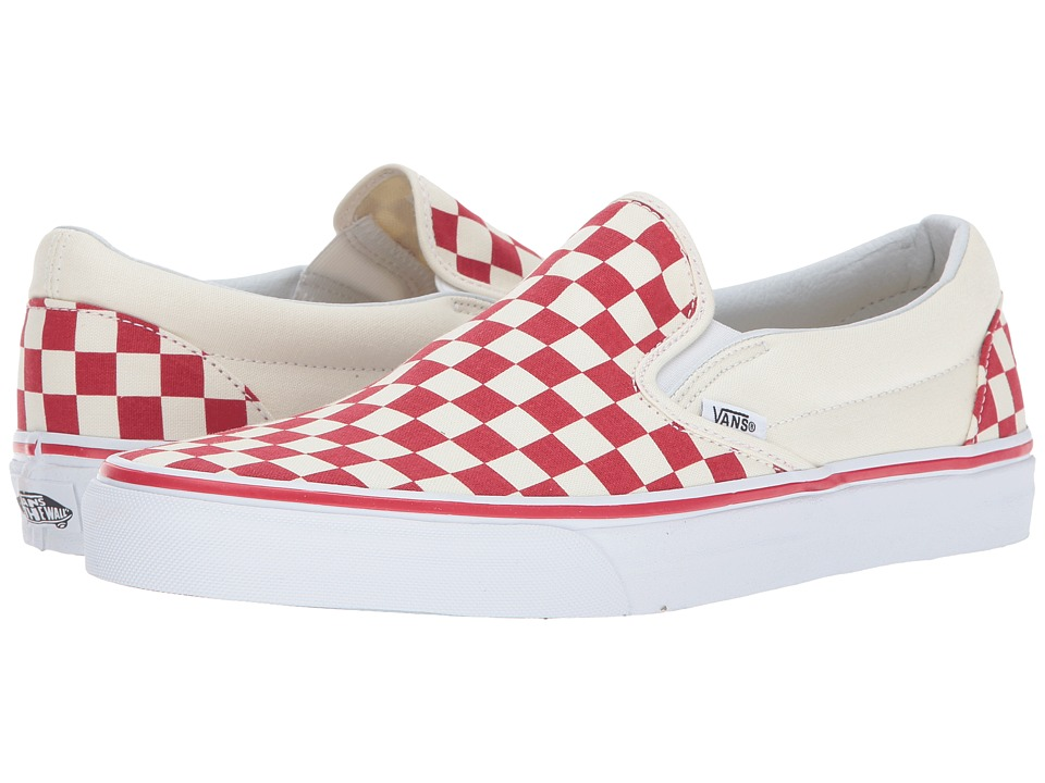 Vans Classic Slip-On ((Primary Check) Racing Red/White) Skate Shoes