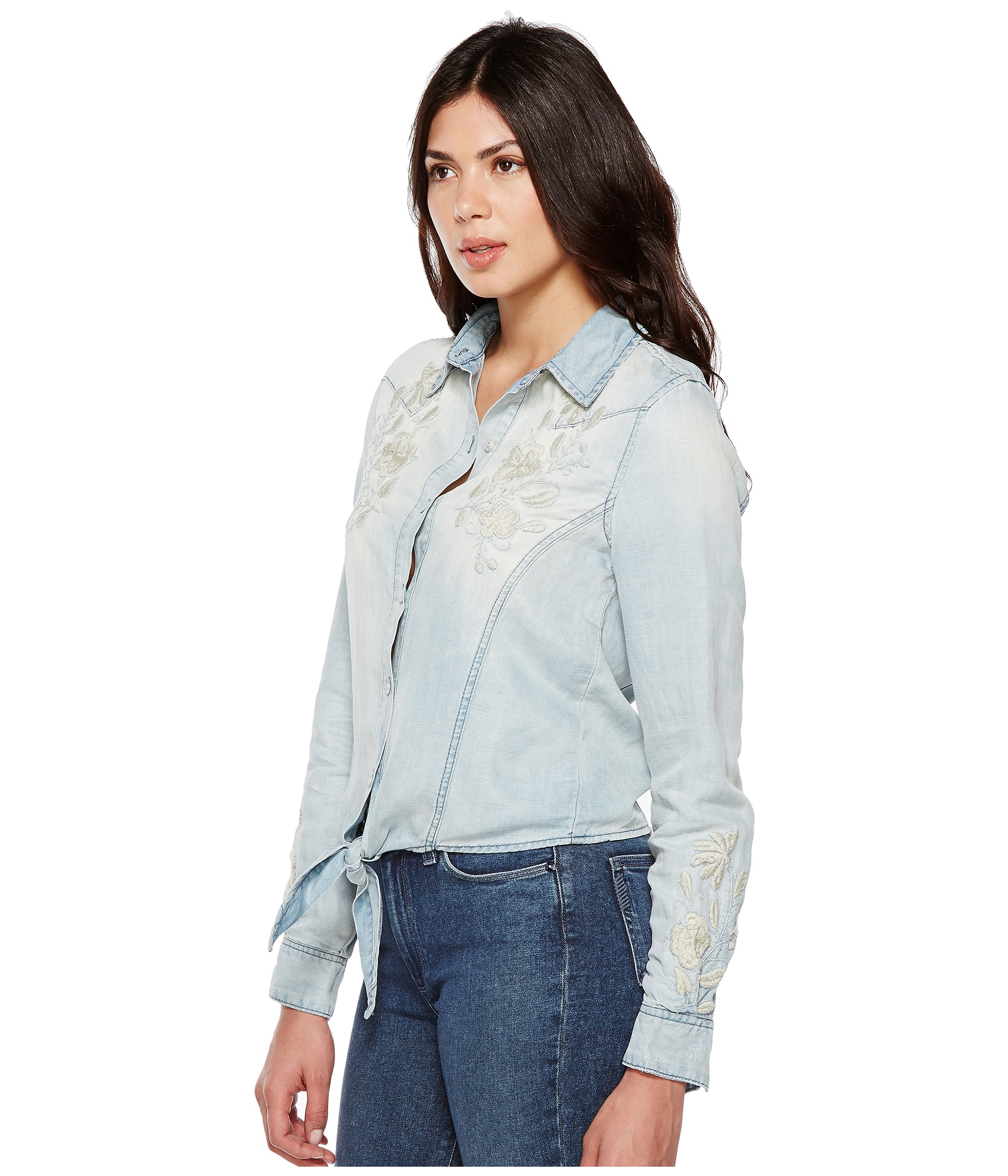 Blank nyc denim embroidered shirt with knotting detail in