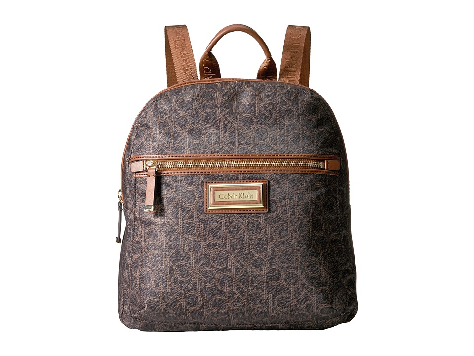 Calvin Klein - Belfast Dressy Nylon Backpack (Brown/Khaki Photoprint) Backpack Bags