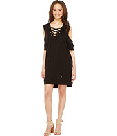 Blank NYC - Sweatshirt Dress with Lace Detailing in Cold Shoulder