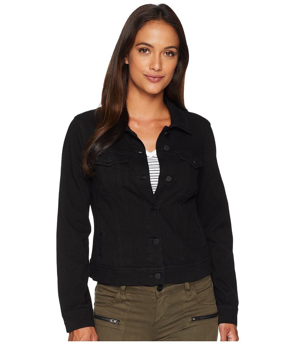 Liverpool - Petite Classic Denim Jacket in Powerflex Knit Denim (Black Rinse) Womens Coat
