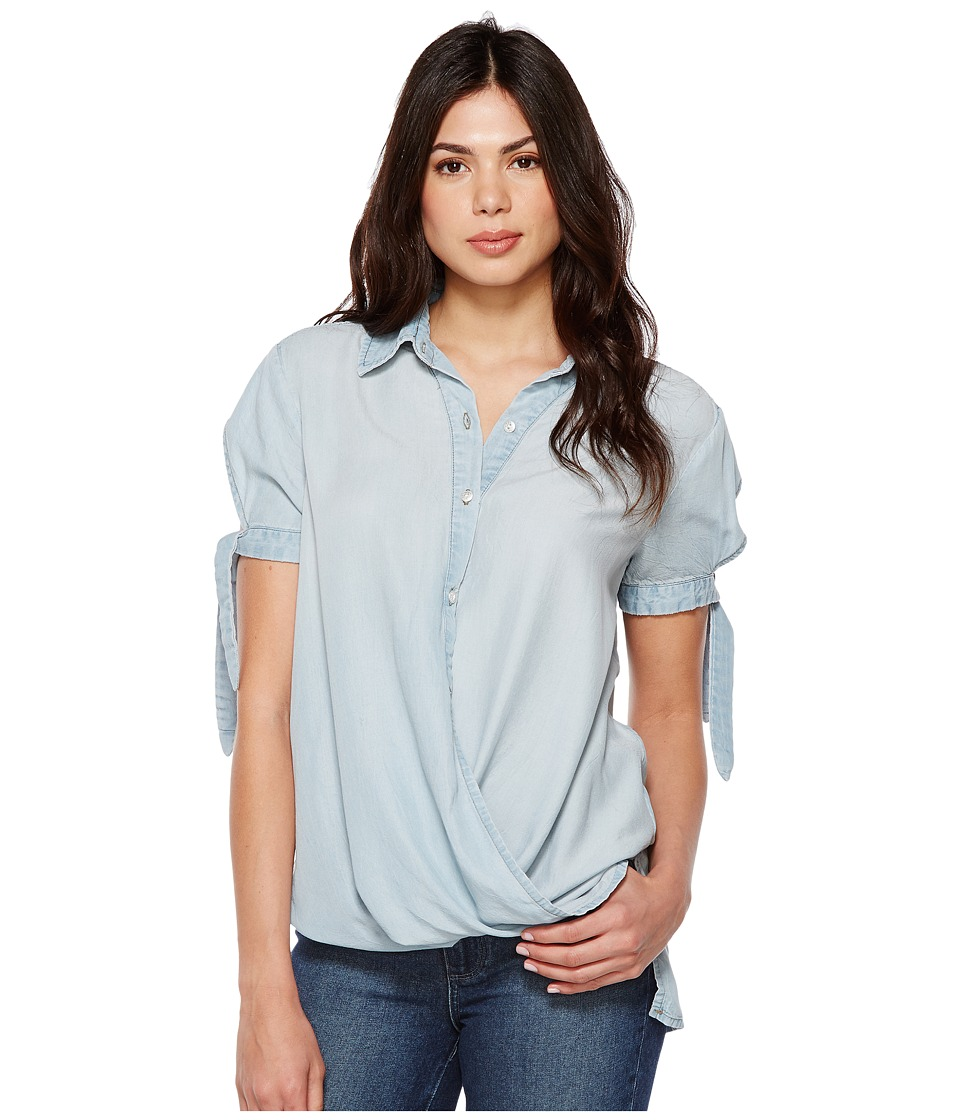 Blank NYC - Denim Collard Shirt with Drape Detail in Oh Behave