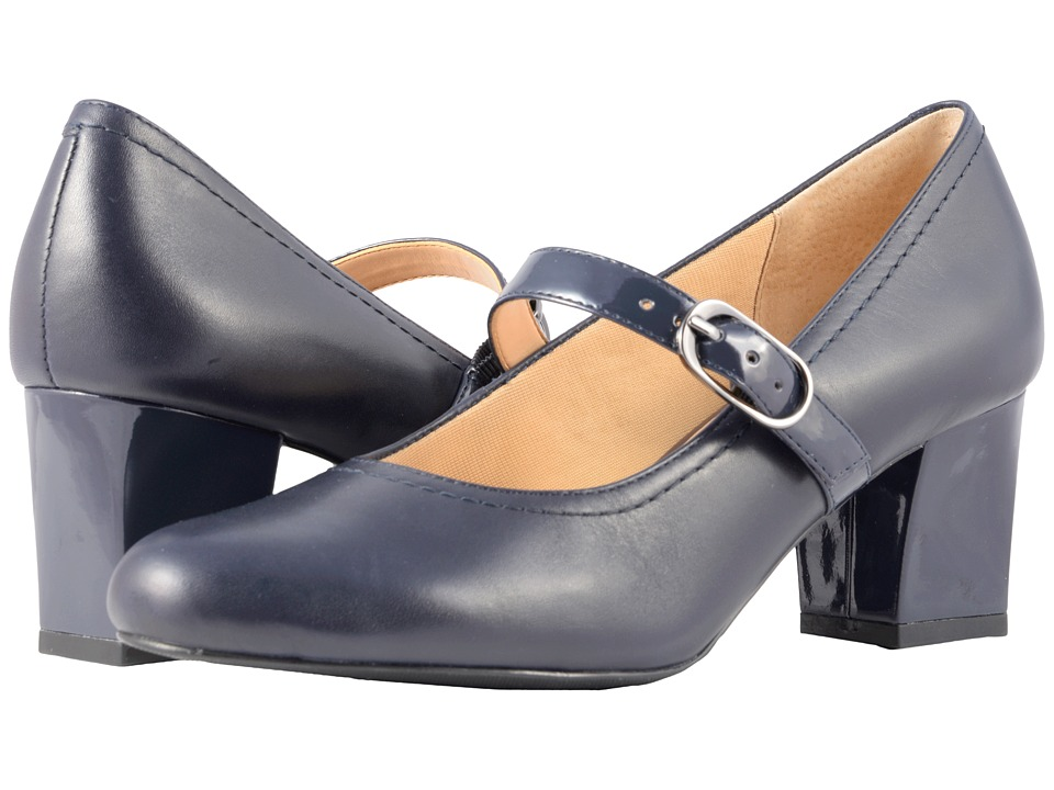 Trotters - Candice (Navy Smooth Leather/Patent) High Heels