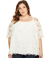 Vince Camuto Specialty Size - Plus Size Elbow Sleeve Cold-Shoulder Organic Lace Blouse