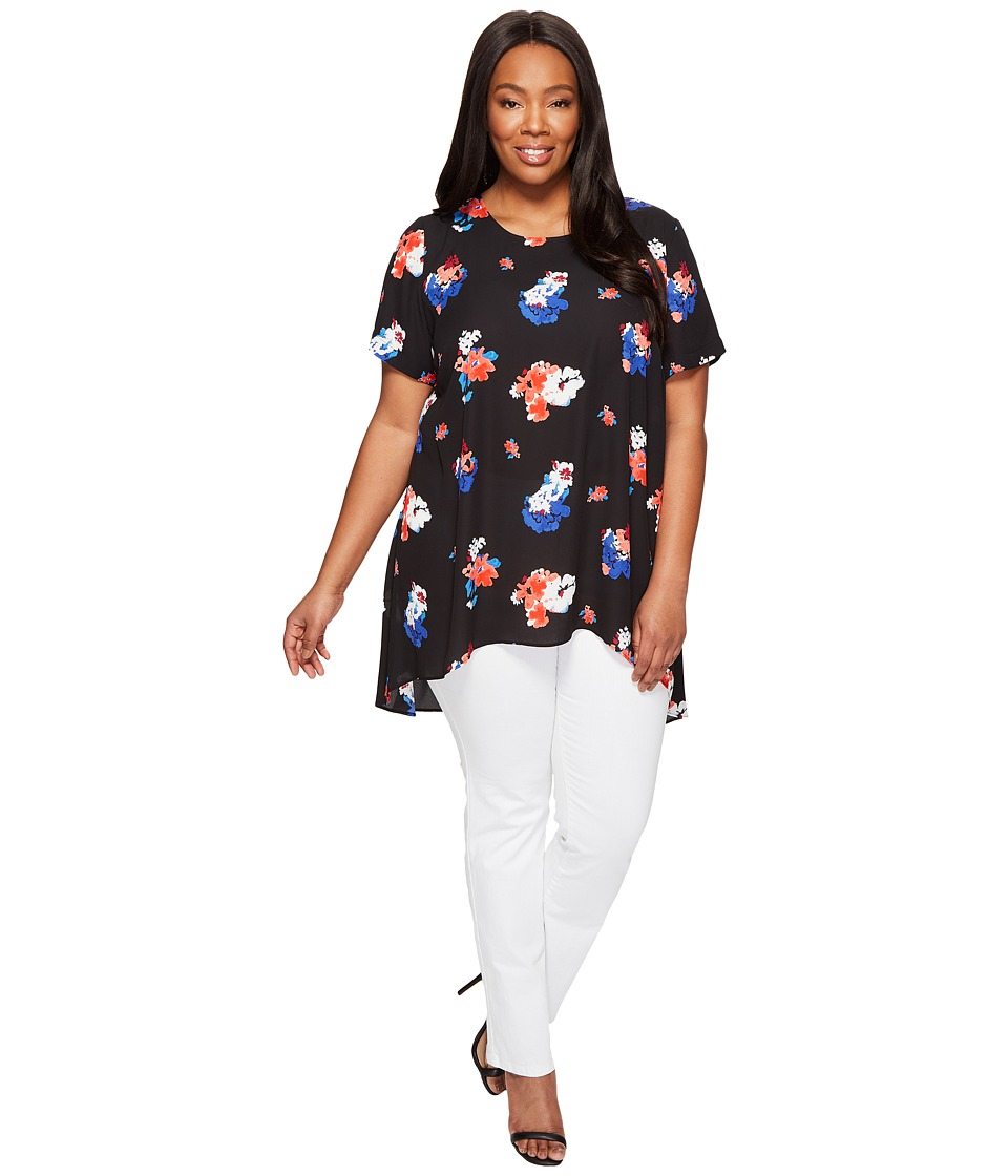 Vince Camuto Specialty Size Plus Size Short Sleeve Travelling Blooms High-Low Hem Blouse (Rich Black) Women