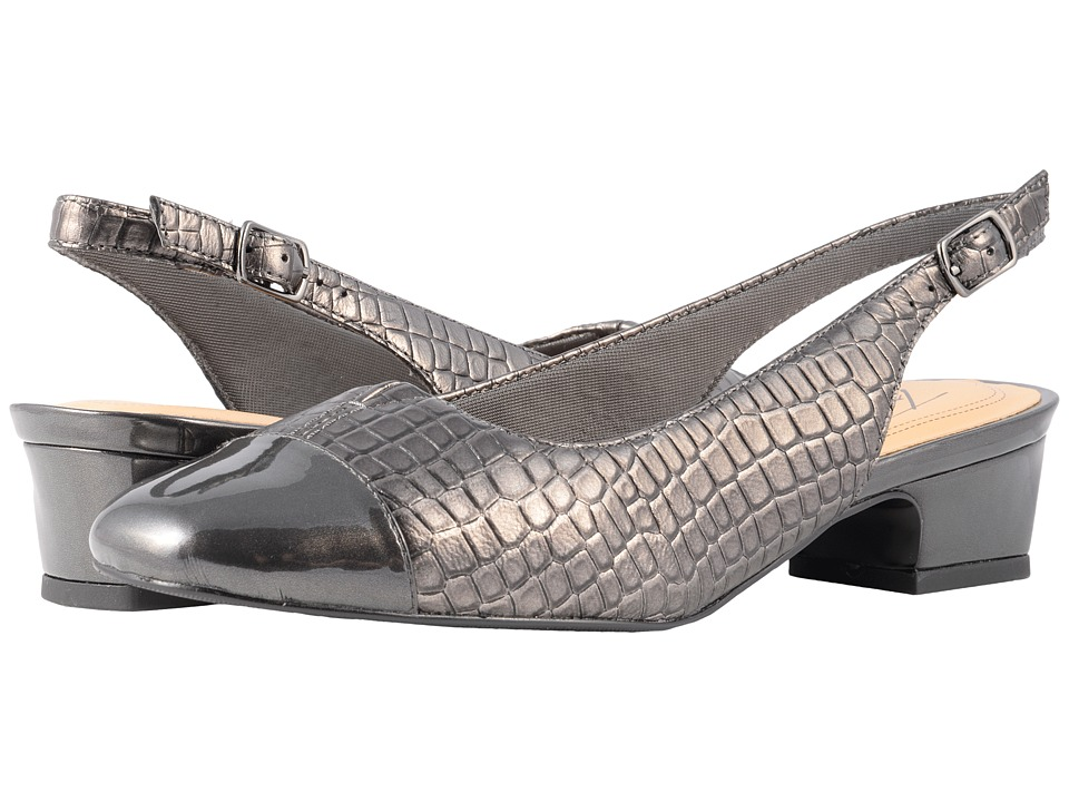 Trotters Dea (Pewter Croco/Patent) 1-2 inch heel Shoes