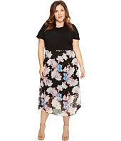 Vince Camuto Specialty Size - Plus Size Short Sleeve Poetic Bouquet Chiffon Overlay Dress