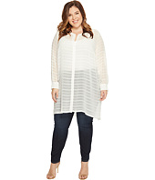 Vince Camuto Specialty Size - Plus Size Long Sleeve Button Down Sheer Embroidered Stripe Tunic