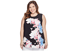 Vince Camuto Specialty Size - Plus Size Sleeveless Poetic Bouquet Mix Media Top