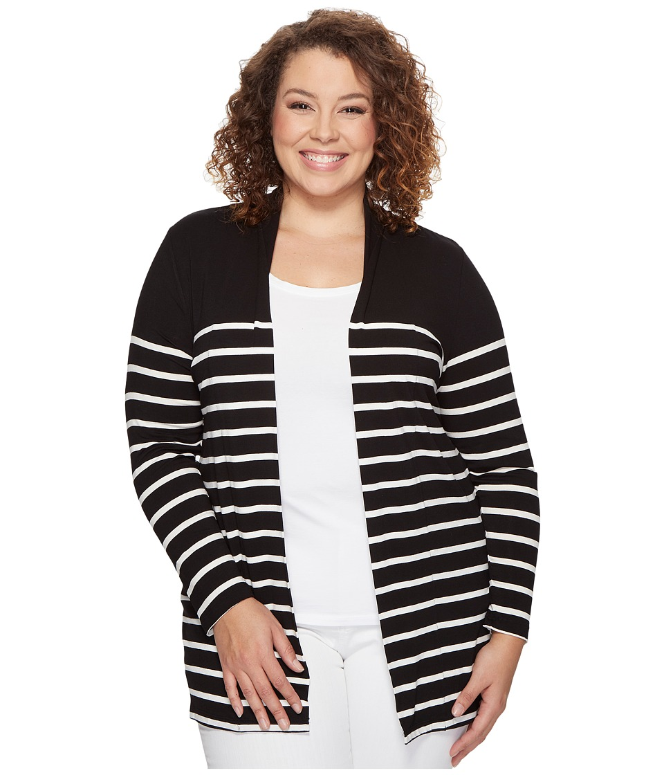 Vince Camuto Specialty Size Plus Size Long Sleeve Clipper Stripe Panel Cardigan (Rich Black) Women