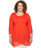 Vince Camuto Specialty Size - Plus Size 3/4 Sleeve Asymmetrical Chiffon Hem Top