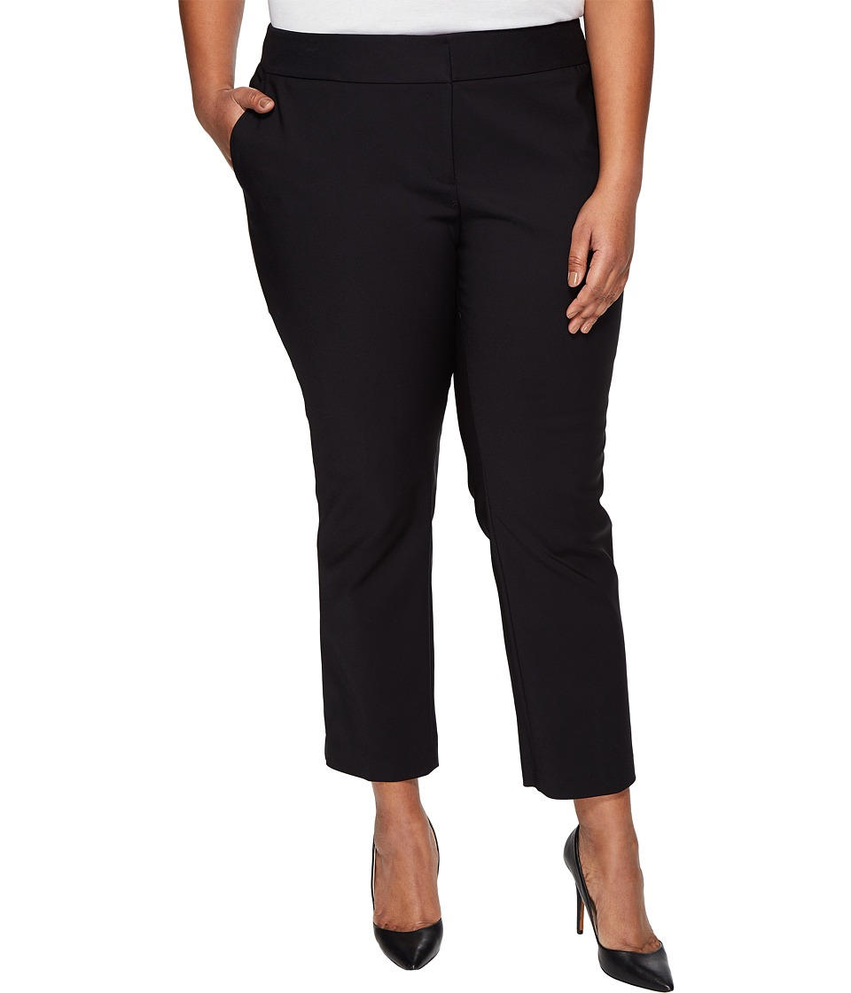 Vince Camuto Specialty Size - Plus Size Front Zip Ankle Pants (Rich Black) Womens Casual Pants
