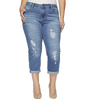 Liverpool - Plus Size Corey Cropped Boyfriend with Destruct Detail on Super Comfort Stretch Denim in Melbourne