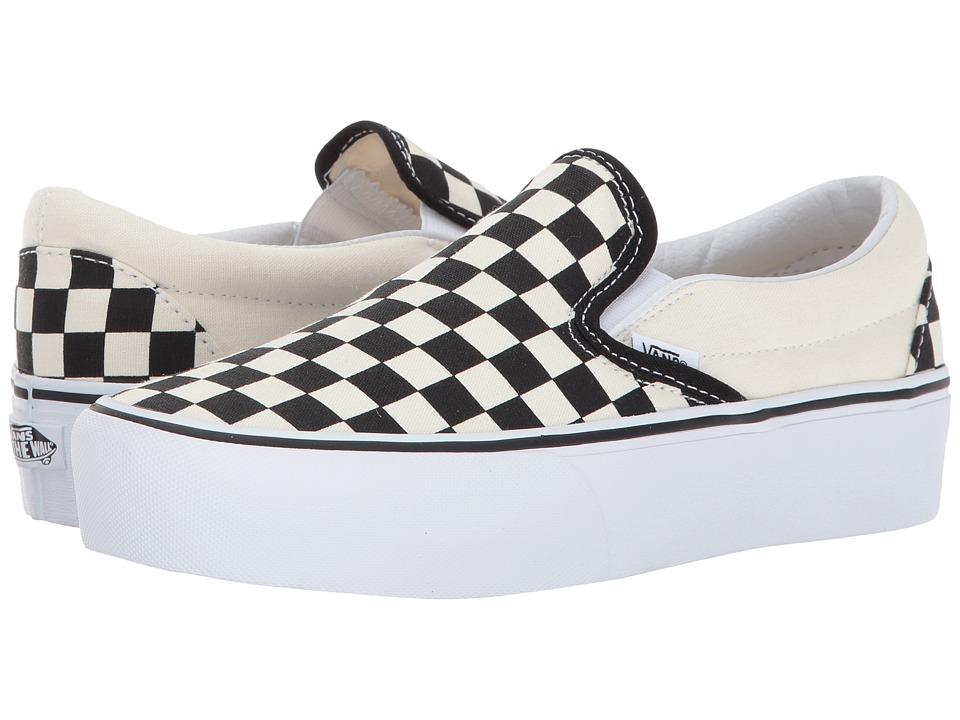 Vans Classic Slip-On Platform (Black and White Checker/White) Slip on Shoes