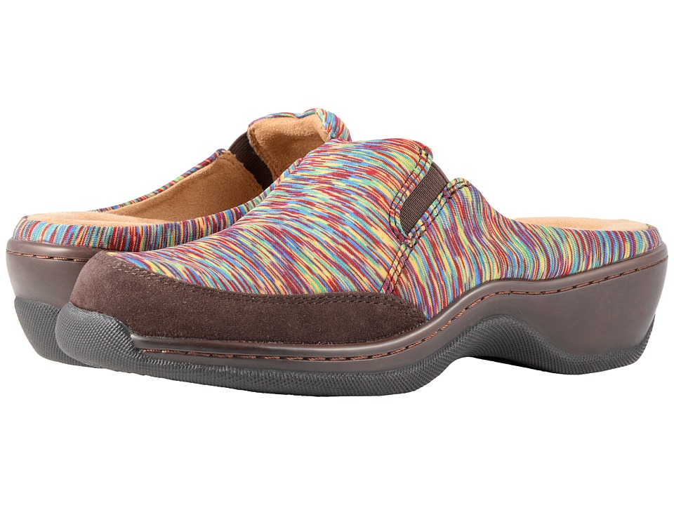 SoftWalk Alcon (Bright Multi/Dark Brown Air Mesh Multi/Suede) Slip-On Shoes