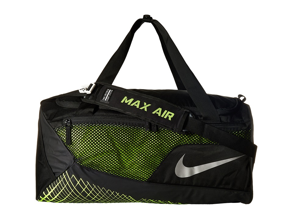 Nike - Vapor Max Air Training Medium Duffel Bag (Black/Volt/Metallic Silver) Duffel Bags