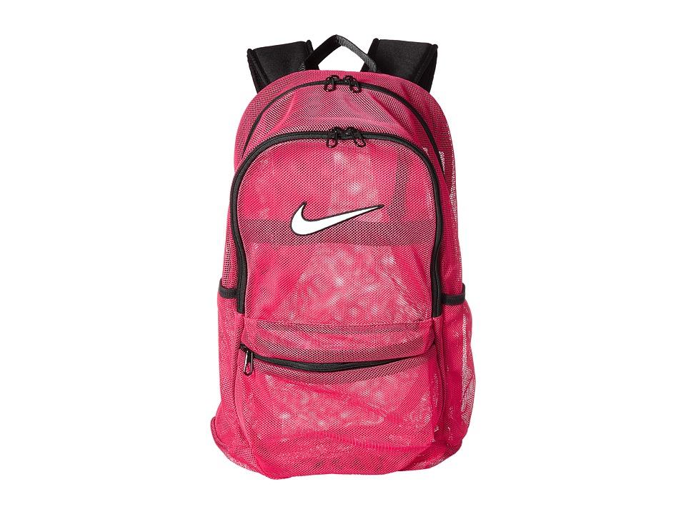 Nike Brasilia Mesh Backpack (Rush Pink/Black/White) Backpack Bags