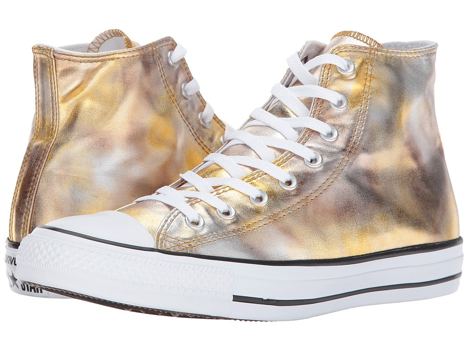 Converse Chuck Taylor All Star Washed Metallic Canvas Hi (Silver/Gold/Black/White) Lace up casual Shoes