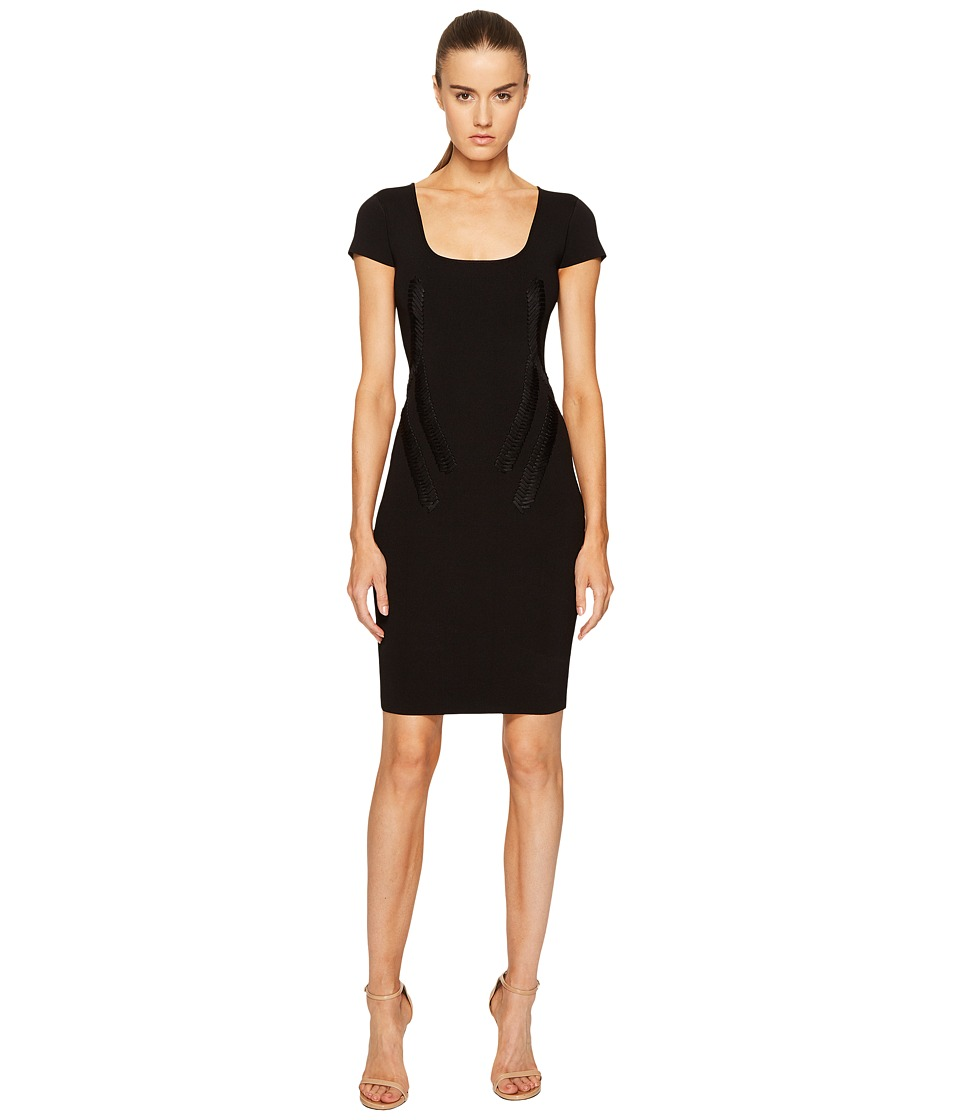 Zac Posen Rib Knit Scoop Neck Short Sleeve Dress (Black) Women