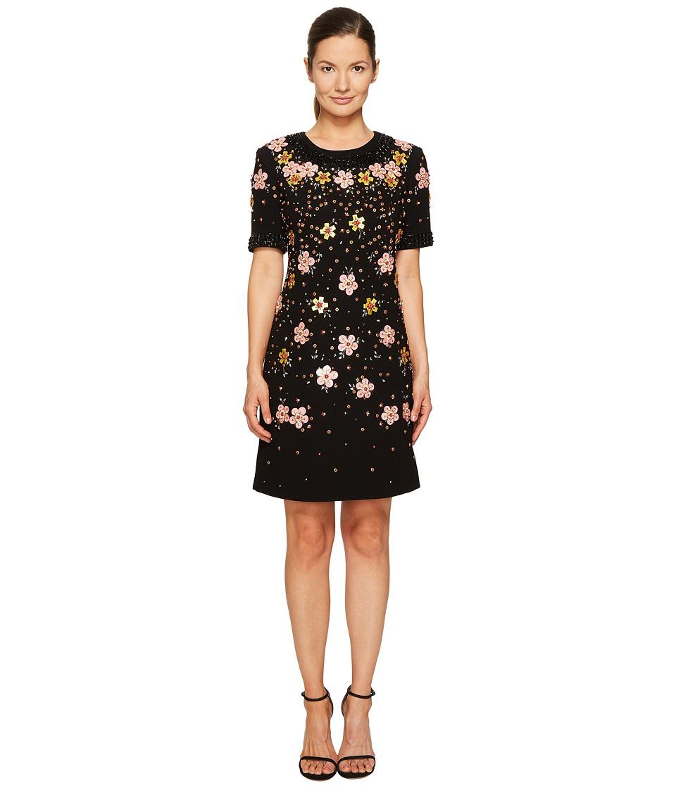 Zac Posen Bonded Crepe Handmade Floral Embroidery Short Sleeve Dress (Black Floral) Women