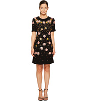 Zac Posen - Bonded Crepe Handmade Floral Embroidery Short Sleeve Dress