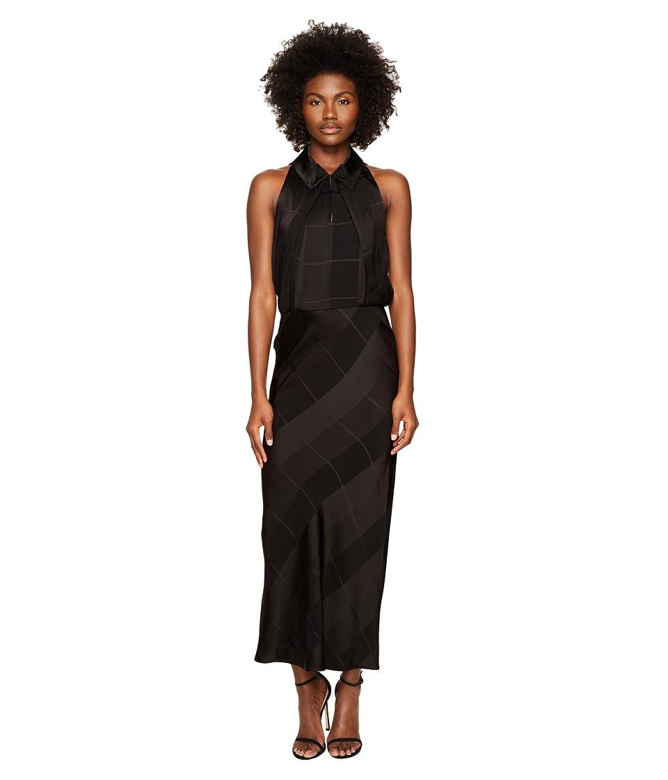 Zac Posen Satin Crepe Jacquard Sleeveless Dress (Black) Women
