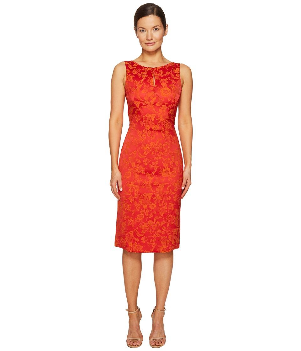 Zac Posen Party Jacquard Sleeveless Dress (Coral/Orange) Women