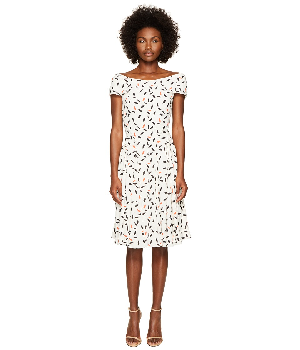 Zac Posen - Feather Print Crepe Short Sleeve Dress