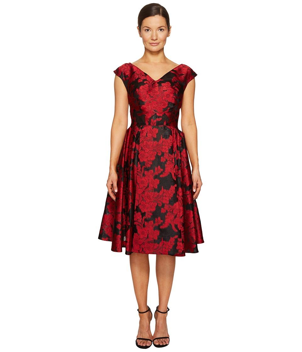 Zac Posen - Transparent Jacquard V-Neck Short Sleeve Dress