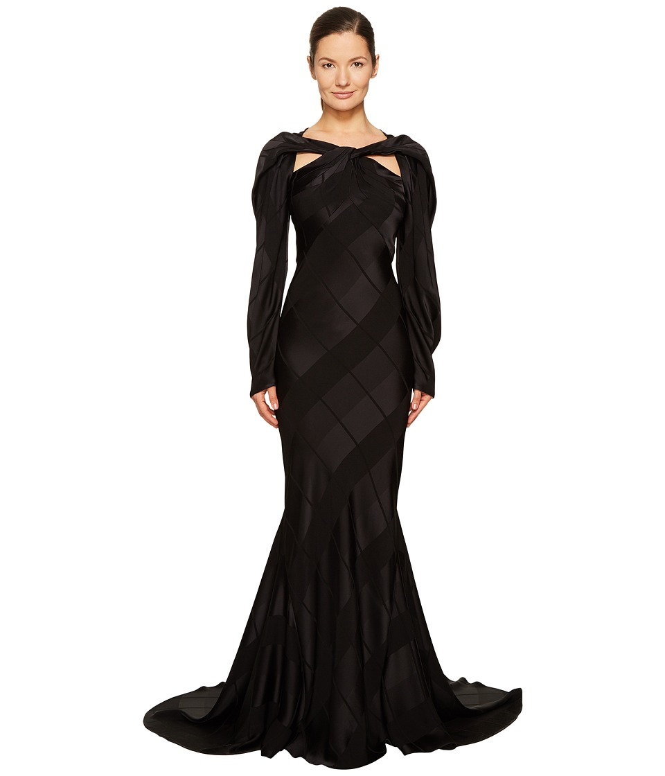 Zac Posen Satin Crepe Jacquard Long Sleeve Cut Out Gown (Black) Women