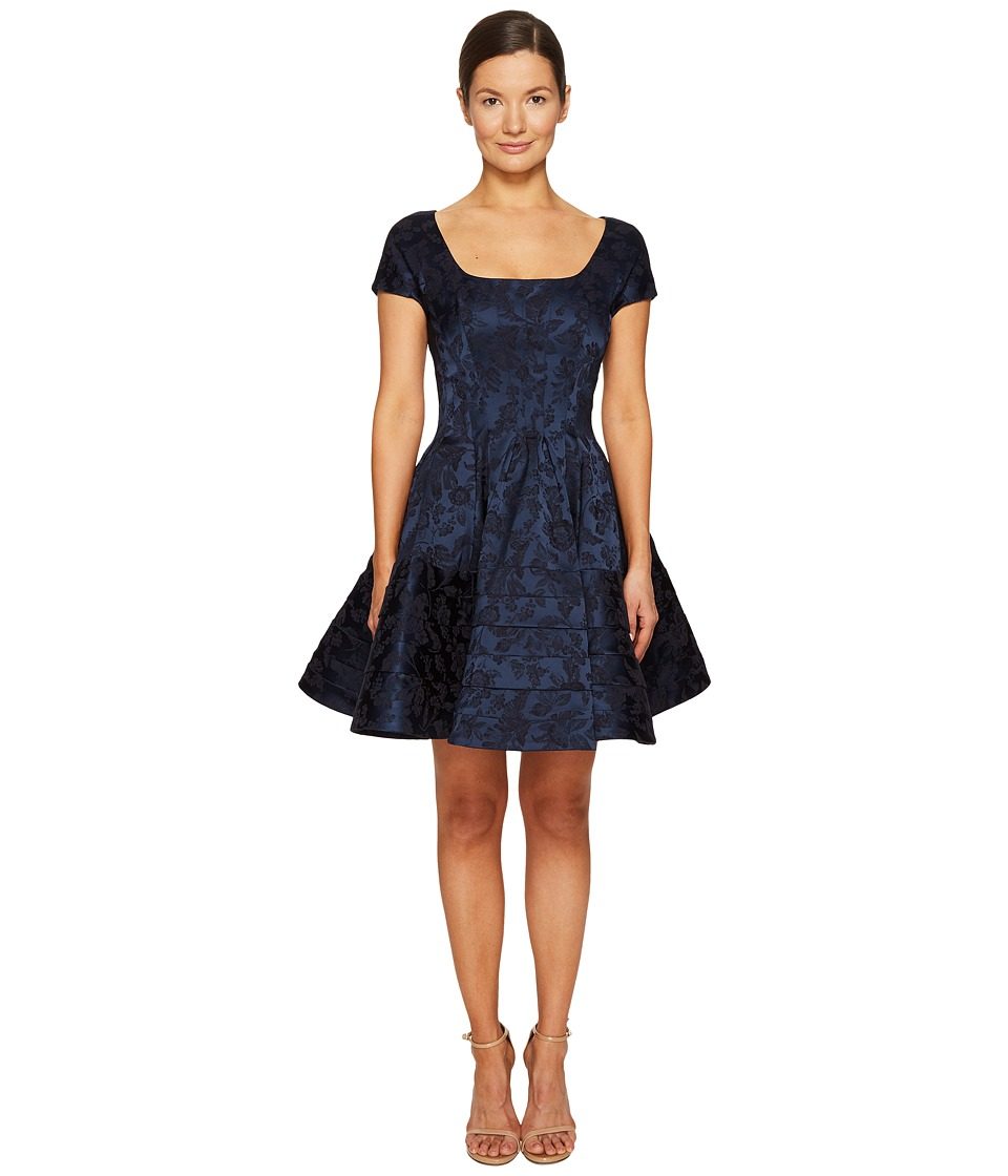 Zac Posen - Short Sleeve Boat Neck Fit and Flare Jacquard Dress