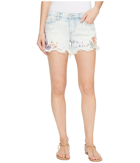 Blank NYC Floral Embroidered Denim Shorts in Sitting Pretty