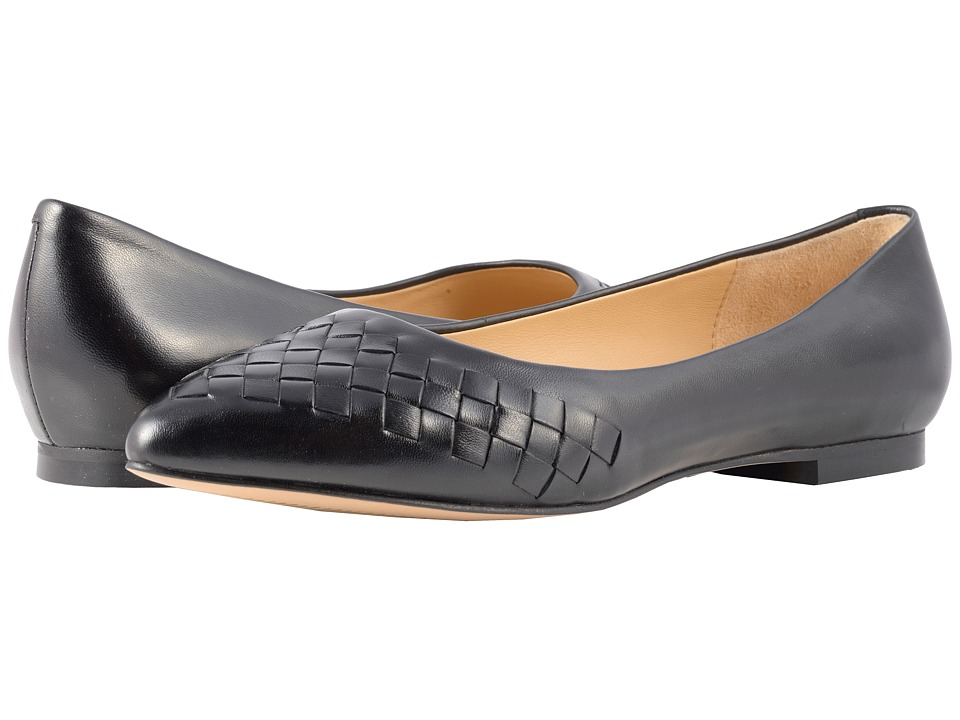 Trotters Estee Woven (Black Woven Leather) Flats