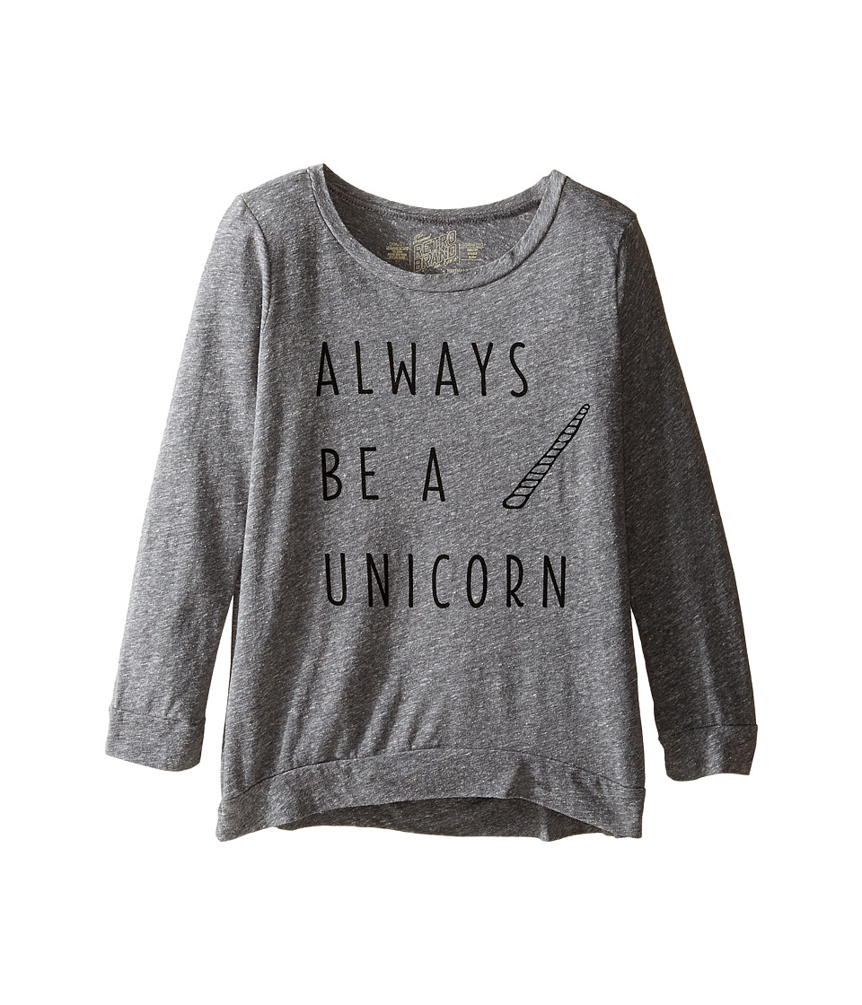 The Original Retro Brand Kids - Always Be A Unicorn 3/4 Pullover (Big Kids) (Streaky Grey) Girls Long Sleeve Pullover