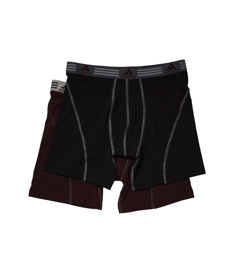 adidas - (r) Sport Performance ClimaLite 2-Pack Boxer Brief (Black/Light Onix/Dark Burgundy/Light Onix) Men's Underwear