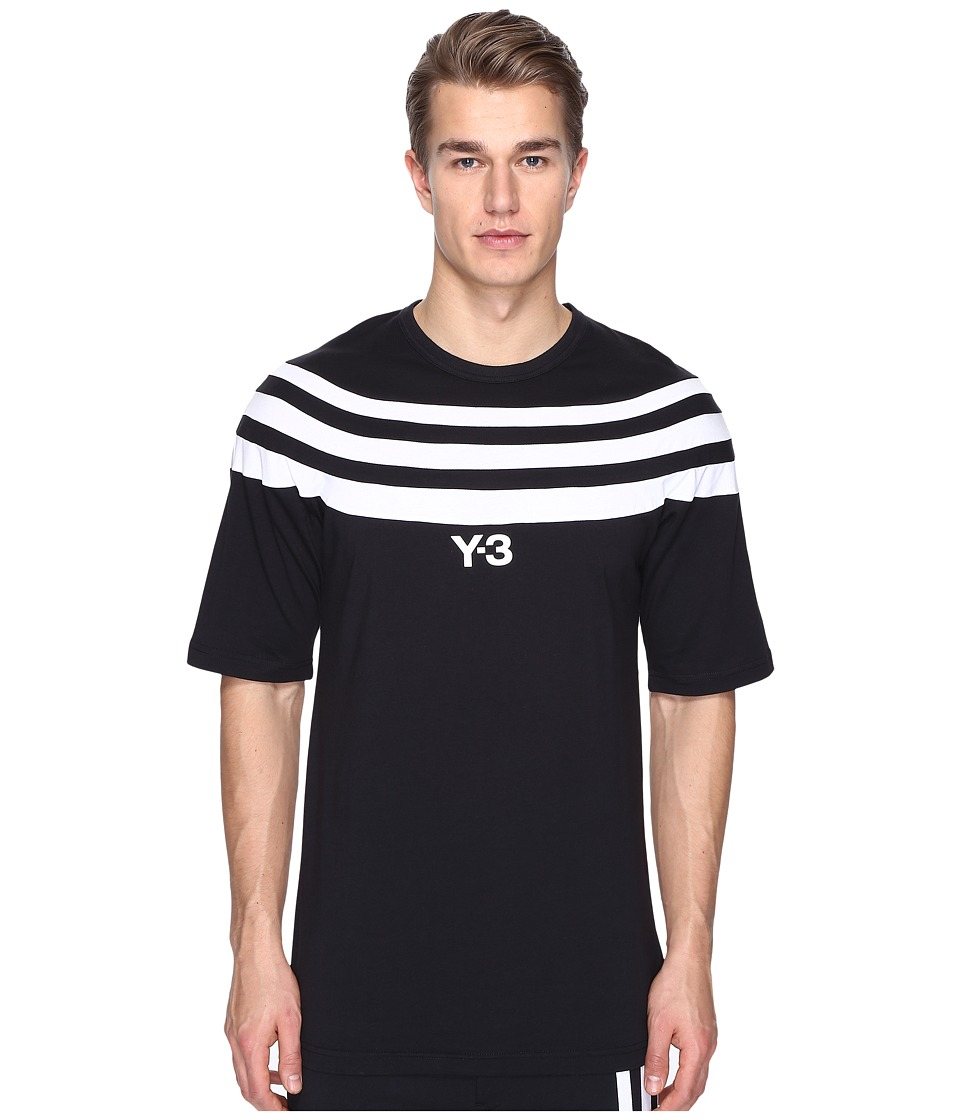 adidas Y-3 by Yohji Yamamoto M 3 Stripe Short Sleeve Tee (Black) Men