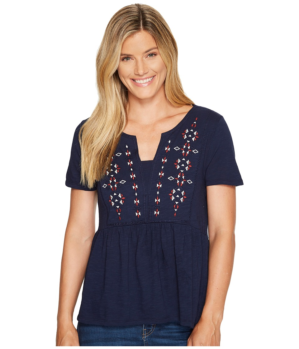 Sanctuary - Carlisle Top (Sateen Navy) Womens Short Sleeve Pullover