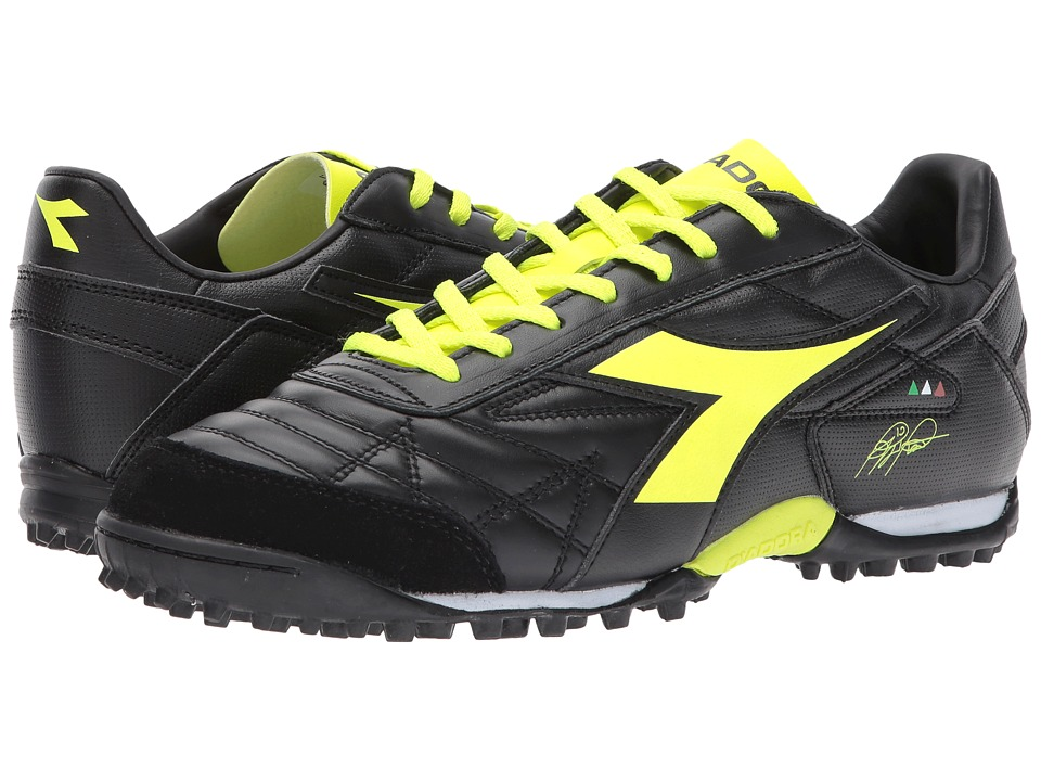 Diadora M. Winner RB LT TF (Black/Yellow Flourescent) Soccer Shoes
