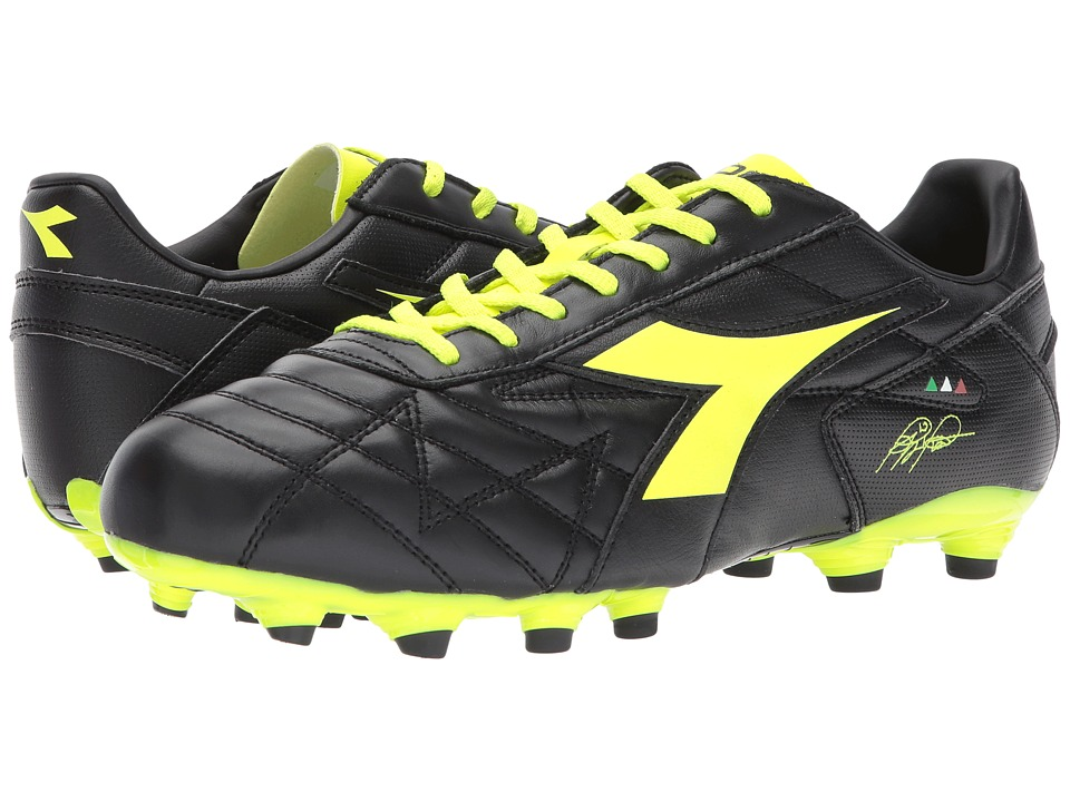 Diadora M. Winner RB LT MG14 (Black/Yellow Flourescent) Soccer Shoes