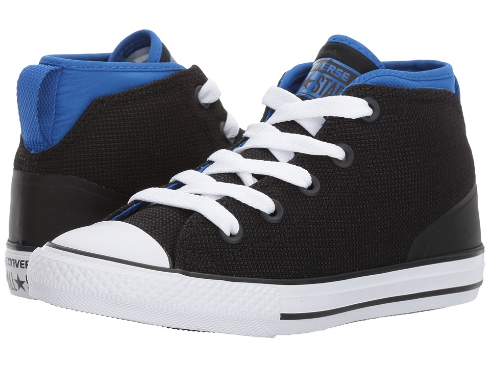 Converse Kids Chuck Taylor All Star Syde Street Mid (Little Kid) (Black/Laser Blue/White) Kids Shoes