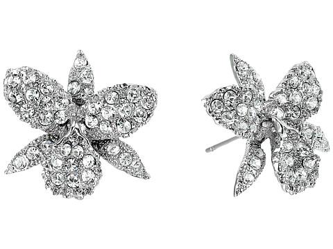 Nina Pave Small Orchid Earrings - Rhodium/White Swarovski
